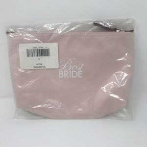"NEW! ""Best Bride"" Satin Cosmetics Bag (Blush)"